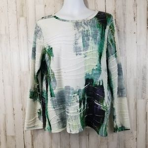Simply Vera Wang Womens Top XL Cream Green
